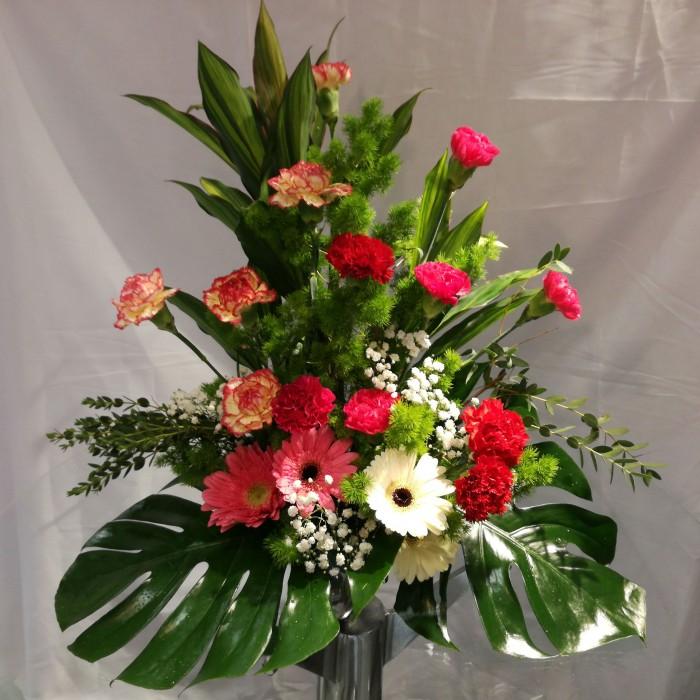 Carnations Roses Gerbera Flower Arrangement