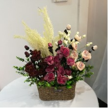 Peony & Tulip Flower Basket (artificial flower)