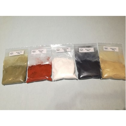 Natural Clay - yellow, blue, green, red, black & white 100g