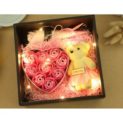 Valentines' Day Premium Soap Flower Box with LED Lights