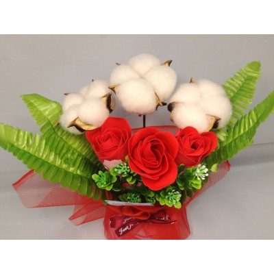 Soap + cotton flower Gift