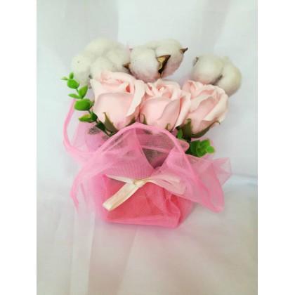 Rose Soap Flower + cotton flower Gift