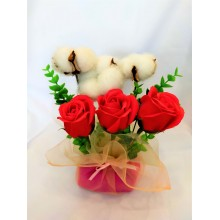 Red Rose Soap Flower + cotton flower Gift