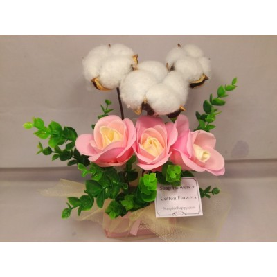 Mothers' Day Soap + cotton flower Gift