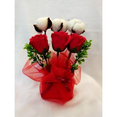 Red Rose Soap Flower + cotton flower Gift