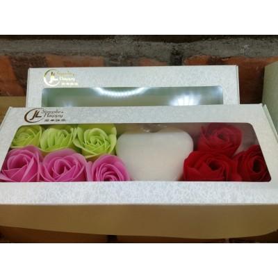 Valentines' Day Soap Flowers Gift Box -Peppermint/Rose Geranium Handmade Soap