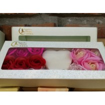 Valentines' Day Soap Flowers Gift Box -Peppermint/Rose Geranium Handmade Soap
