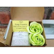 Valentines' Day Mini Gift Box Set - essential oil soap/ charcoal soap+ soap flowers