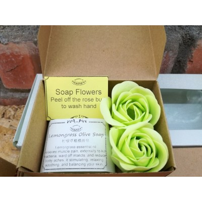 Mini Gift Box Set - essential oil soap/ charcoal soap+ soap flowers