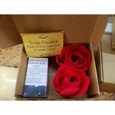 Mothers' Day Mini Gift Box Set - essential oil soap/ charcoal soap+ soap flowers