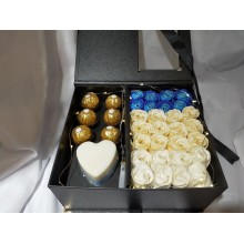 Premium Soap Flower & Ferrero Rocher Chocolate Box for Valentines' Day