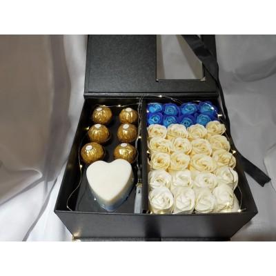 Premium Soap Flower & Ferrero Rocher Chocolate Box for Valentines' Day