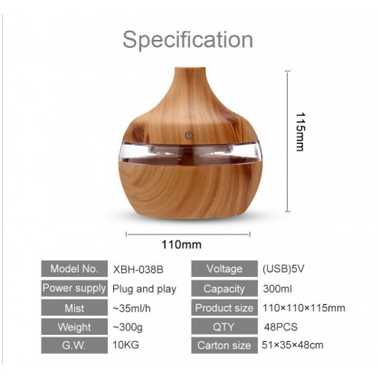 USB Aroma Diffuser cum Humidifier 300ml with LED lights