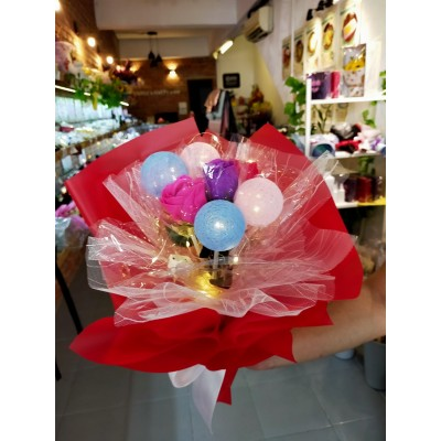 LED Colour Ball with Soap Flower Bouquet
