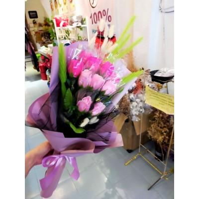 Soap Flower+Cotton Flower Bouquet