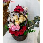 Opening/Anniversary/House warming Soap flower+cotton flower+dry flower Basket