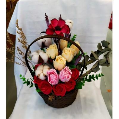 Opening/Anniversary/House warming Soap flower+cotton flower+dry flower Basket