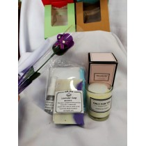 Fathers' Day Aroma Candle & Handmade soap set- Free gift box & a soap flower