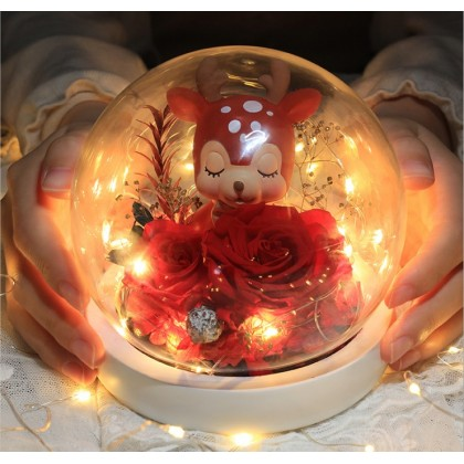 Eternal Roses with LED in a crystal ball- free carry bag & a greeting card